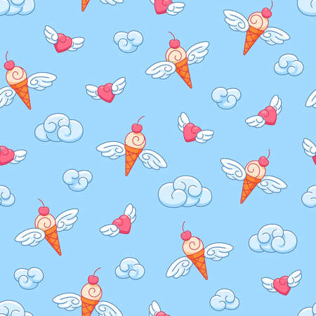 Seamless vector pattern with flying winged hearts and ice cream cones on a background of blue sky with clouds, children's cartoon ornament. 向量圖像