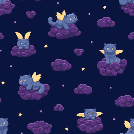 Seamless vector pattern of cute fluffy winged kittens on the background of the night sky with stars and clouds, child's drawing for wallpaper and fabric 向量圖像
