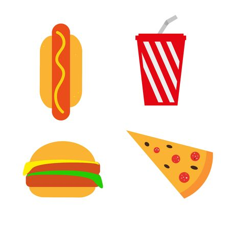 Fast food, fast food set isolated on a white background. Simple design. Hot Dog. Ketchup. Mustard. Burger. Pizza. Vector Ilustração