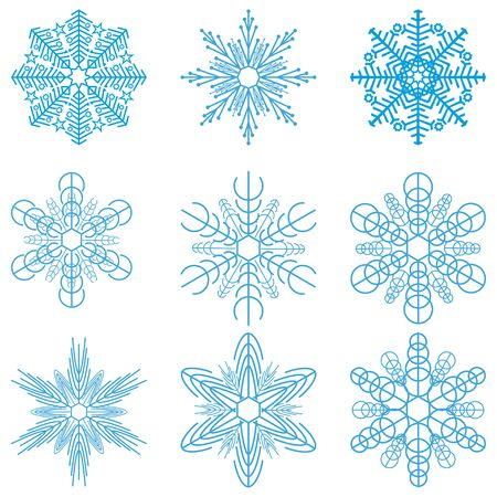 Set of snowflakes.Christmas holiday design.Isolated on a white background.Vector illustration