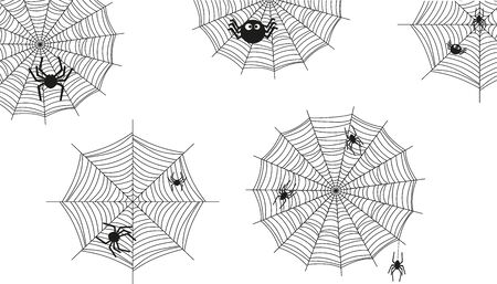 Spiders knit a spider web.Illustration for halloween.Vector