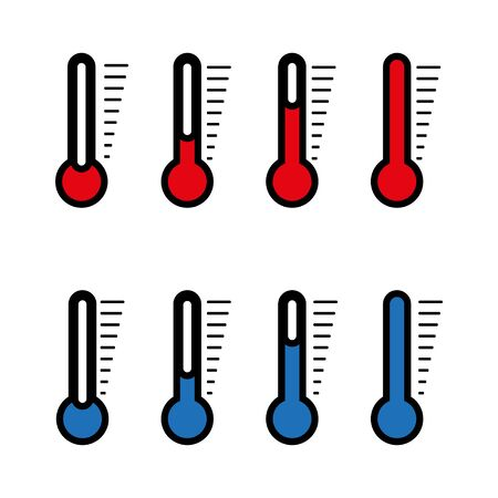 Blue and red thermometer icon with different levels, flat style. Vector