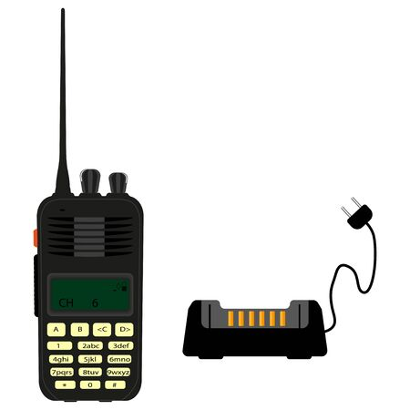 Modern portable radio. Vector illustration on a white background.Vector