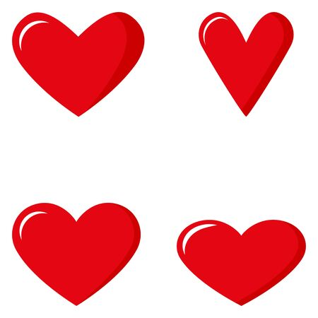 Set of red hearts. Valentines Day. Flat style isolated on white background. Vector illustration