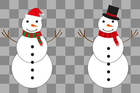 Two snowmen in a hat of Santa Claus and a magicians hat. Snowballs in hands. Christmas illustration. Vector illustration
