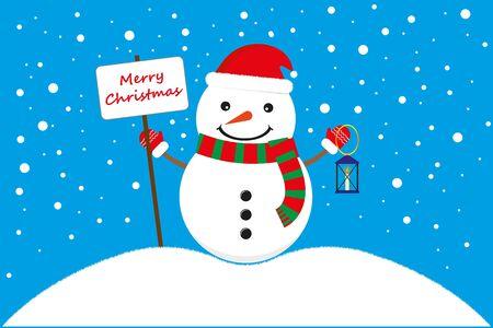 Merry Christmas. Merry Snowman Wishes Merry Christmas, New Year, Christmas Illustration, Snowfall, Postcard Idea. Vector illustration