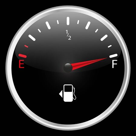 The round fuel gauge is realistic. Detail of the dashboard of a motorcycle car and other transport. Black. Isolated on black background. Vector illustration