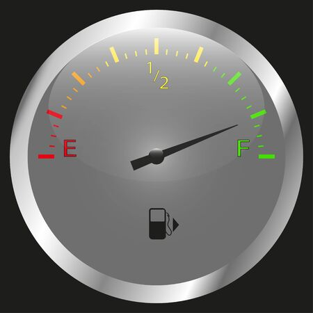 The round fuel gauge is realistic. Detail of the dashboard of a motorcycle car and other transport. White. Isolated on black background. Vector illustration