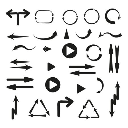 Collection of vector arrows. Black arrows cursors set icon, back, side, preview of applications or values of web design, mobile application, map. Flat style on white background. Vector illustration Vettoriali