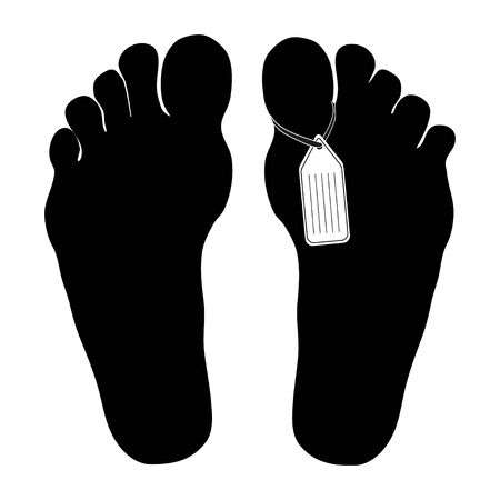 Legs are marked by death. The corpse in the morgue. Flat vector illustration isolated on white background. The tag on the corpse icon can be used for the web and mobile web applications. Vector illustration