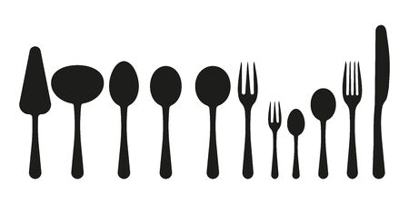 Cutlery icons set. On a white background. Flat style. Vector illustration