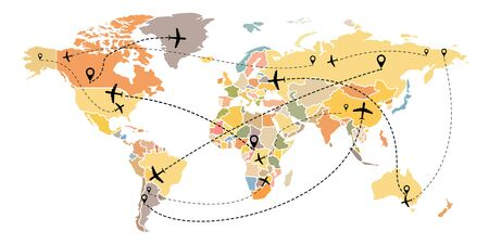 Airplane flight route on world map. Linear flight of the aircraft with the starting points and traces of the dash line. Flat style. Isolated on a white background. Vector illustration