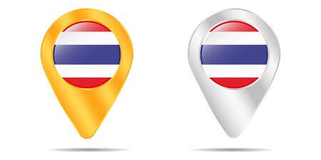 Map of pins with flag of Thailand. On a white background. Vector illustration