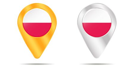 Map of pins with flag of Poland. On a white background. Vector illustration Illusztráció
