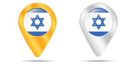 Map of pins with flag of Israel. On a white background. Vector illustration
