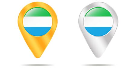 Map of pins with flag of Sierra Leone. On a white background. Vector illustration