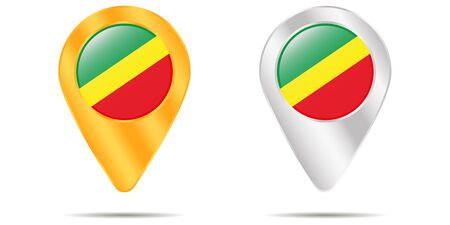 Map of pins with flag of Republic of the Congo. On a white background. Vector illustration