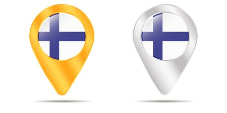 Map of pins with flag of Finland. On a white background. Vector illustration