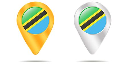 Map of pins with flag of Tanzania. On a white background. Vector illustration