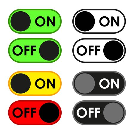 Shut down button icon set. A modern, simple, flat illustration for a website or mobile app. Isolated on a white background. Vector illustration  イラスト・ベクター素材
