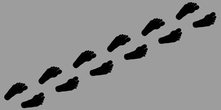 Footpath human footpath. Barefoot prints with the inscription SALE. Abstract concept, icon set. Vector illustration on a gray background. Human footprint, icon. Vector illustration Ilustração
