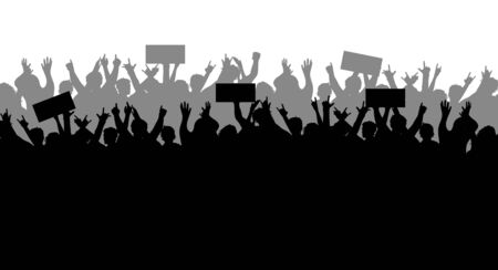 Concept of protest and strike, demonstration and revolution. Silhouettes of crowds of people with banners in hand. Political and human rights protests. Political demonstrations. Vector illustration