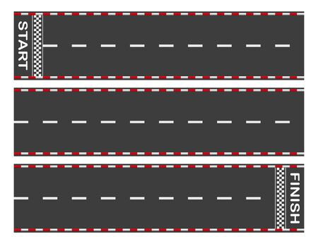 Avoid the asphalt road from start to finish. Background of car or go-kart road race. top view. Abstract graphic element of asphalt road racing concept. Vector illustration Vector Illustratie