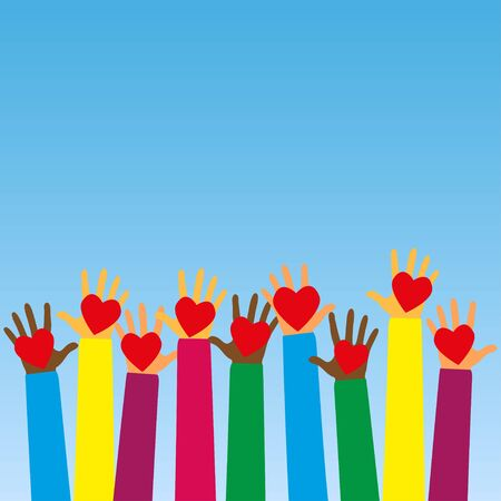 Raised human hands with red hearts. Concept of charity, volunteerism and donation. Children's hands hold heart symbols. Purity and sacrifice are given through their love for poor people. Vector Illustration