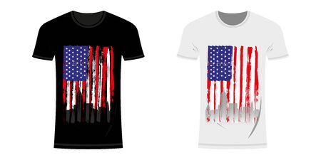 Graphic design t-shirt with flag and city skyline of USA and New York and grunge texture. USA and New York typographic design for t-shirts and clothes. Vintage and authentic t-shirt print. Vector