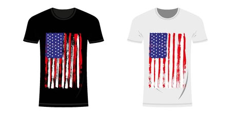 Graphic Design T-shirt with USA and New York Flag and Grunge Texture. USA and New York typography design t-shirts and clothes. Vintage and authentic print on t-shirt layout. Vector illustration Archivio Fotografico - 150158844