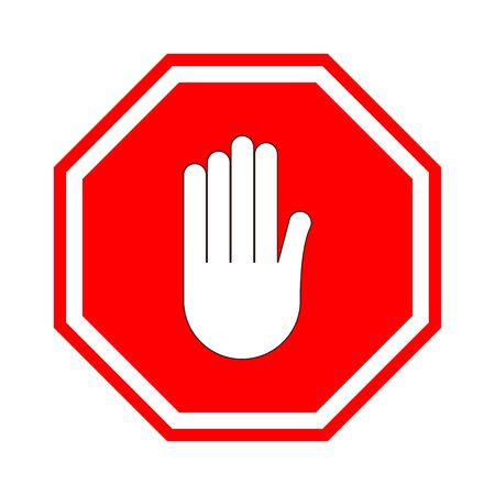 Stop sign. Red prohibitive sign with human hand in the shape of an octagon. Stop the gesture with your hand, do not enter, it is dangerous. There is no entrance. Vector illustration