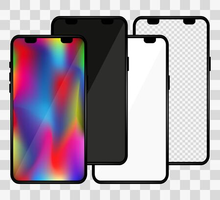 Realistic phone mockup. Set of modern phones with blank, colorful, black and transparent display. Smartphone mockup design front. Presentation and infographic templates. Vector illustration