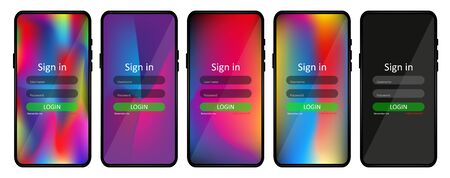 A set of screens for logging in users with a login and password. User interface and page form for mobile applications. Realistic smartphone layout and user interface design. User login form. Vector