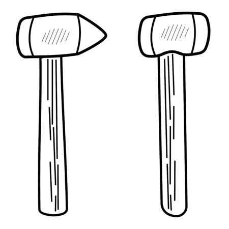 Black hammer outline icon, linear style icon, isolated on white. Symbol illustration. Carpenter hammer. Repair tool. Vector illustration