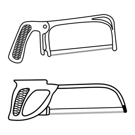 Black line tool hand saw outline icon, linear style icon isolated on white.
