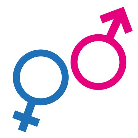Gender or male and female icon flat sign symbols pink and blue vector glyph icon. Isolated on white background. Vector illustration