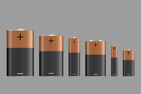 Vector battery, different size, isolated on gray background. Battery sizes or styles, various electronic industrial devices, lithium-chemical electrical components. Vector illustration