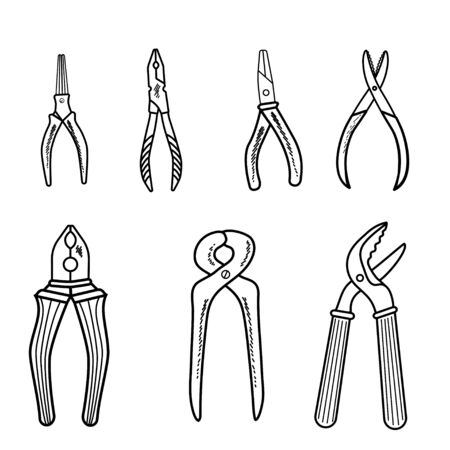 Set of pliers repair tool outline icon. Set of tools for building hands. Isolated on white background. Vector illustration