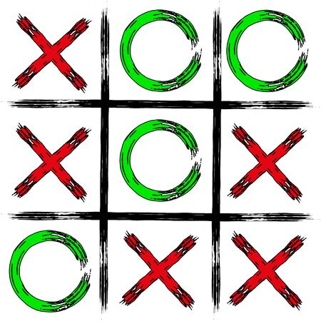 Game Tic tac toe. Tic-tac-toe in grunge style. Board game icon and crosses board game isolated. Vector illustration