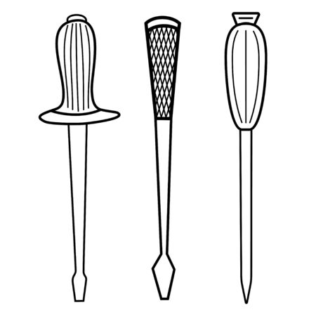 Set of screwdriver repair tool outline icon. Set of tools for building hands. Isolated on white background. Vector illustration 向量圖像