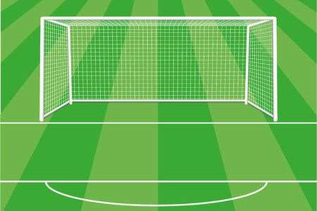 Soccer goal with shadow, net and field marking. Gate for the football field. Football. Located on the football field. Vector illustration