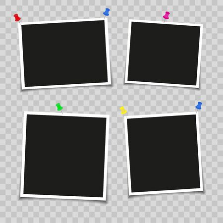 Realistic photo frame layout. Retro photo frames, empty with shadows on the wall, photos on a hairpin. Isolated on transparent background. Vector illustration