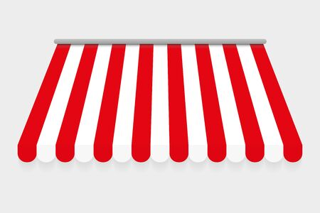 Red and white canopy for market or shop. Red and white canopy for cafe. Isolated on gray background. Awning with a striped cloth for a circus or shop. Vector illustration