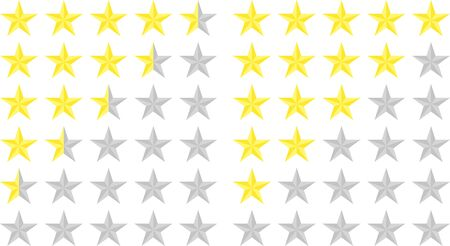 Set of star ratings. Customer review with golden star icon. 5 stars and a half customer rating in a flat style. Quality rank. Customer evaluation. Evaluation rank. Vector illustration