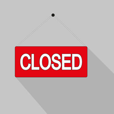 Closed. Door sign with a rope for a cafe-restaurant or shop. Online shopping, illustration design. Isolated on gray background, flat icon. Text label. Vector illustration
