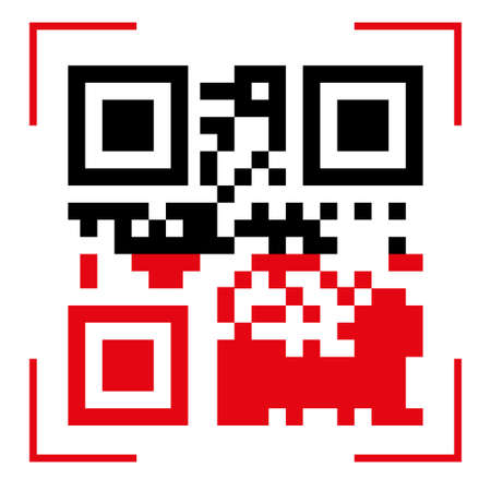 Qr code scan icons. Use the Qr button with the red line scan icon template. Vector QR code sample for smartphone scan. The program interface of the Internet and mobile systems. Vector illustration