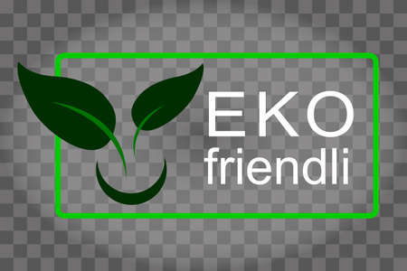 Eco-friendly green leaf. Safe for health. Ecological goods stamp icon.