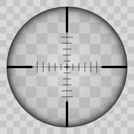 Realistic view of the area of the sniper crossroads with measures. The pattern of the sniper area stands out in a transparent tone. Inspection through the rifle sight. Vector illustration