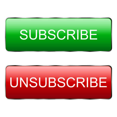 Subscribe button and unsubscribe from the template. Subscribe button and unsubscribe from the channel and news Red button to log in to social media. Vector illustration
