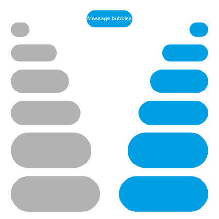 Bubble message design template for chat or website. Chat interface. Empty chat bubbles with place for text. Isolated. Flat style. Modern design. Vector illustration
